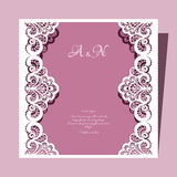 Square lace wedding card Royalty Free Stock Photos
