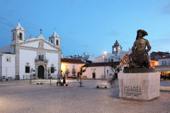 Square in Lagos at dusk, Portugal Royalty Free Stock Photo