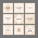 9 square layout templates for social media apps. stock illustration