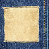 Square leather label on jeans Royalty Free Stock Photography