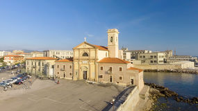 Square of Leghorn along the sea, Tuscany from the air Stock Image