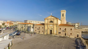 Square of Leghorn along the sea, Tuscany from the air Stock Photo