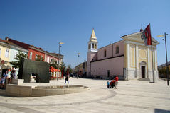 Square of liberty with church in Porec,Croatia Royalty Free Stock Photo