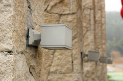 Square light. Mounted on stone post Stock Images