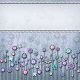 Square light blue floral card royalty free illustration