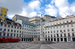 Square of the Lisbon city hall. With its old buildings stock photo