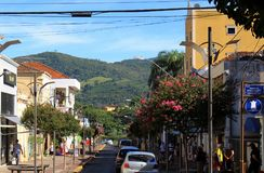 Square at little city in Brazil, Monte Siao-MG royalty free stock photo