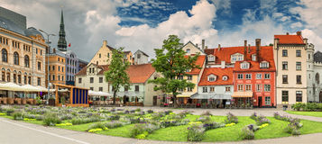 Square of Lives in old Riga city, Latvia Royalty Free Stock Photography