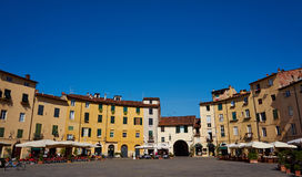 Square in Lucca. Famous eliptical square in Lucca, Italy Royalty Free Stock Image