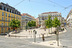 Square of Luis de Camoes in Lisbon Stock Photography
