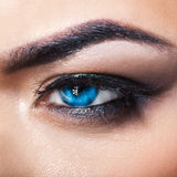 Square macro photo of blue eye with make up Royalty Free Stock Photos