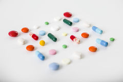 Square made of pills on a desk Royalty Free Stock Photography