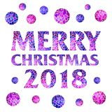 2018 square magic inscription Merry Christmas. With mosaic balls on white background. Creative vector for Holiday Greeting Poster Royalty Free Stock Image
