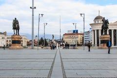 Square Makedonia and Stone Bridge,Skopje Royalty Free Stock Photo