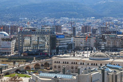 Square Makedonia and Stone bridge view from the old fortress Royalty Free Stock Images