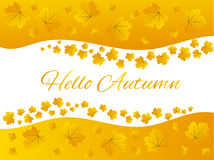 Golden Yellow Hello Autumn Maple Leaves Border Frame. Square maple leaves frame for your book, website or magazine design Stock Photo