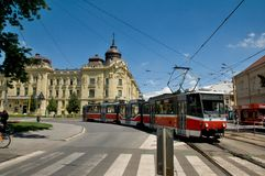 Square marathoners before museums. Square runners before the East Slovakian Museum in Košice tram Royalty Free Stock Photography