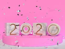 Square marble 2020 type/text number pink wall scene 3d rendering vector illustration
