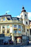 Square market in Sibiu, European Capital of Culture for the year 2007 Royalty Free Stock Photos