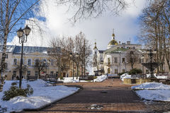 Square Mayakovsky and the Holy Assumption Cathedral Stock Photo
