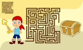 Square maze game for kids with solution royalty free illustration