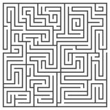 Square maze isolated on white background. Medium complexity. Royalty Free Stock Photo
