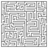 Square maze isolated on white background. Medium complexity. Stock Photos
