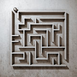 Square maze. Top view. 3D illustration Stock Photography