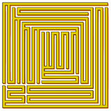 Square maze 21x21 (Yellow with shadow) Royalty Free Stock Image