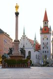 Square of medieval city with monument. Munich. Ger Stock Image