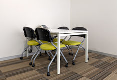 Square meeting table with chairs Royalty Free Stock Photography