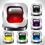 Square metal buttons set Royalty Free Stock Photos