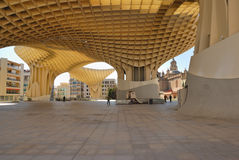 Square Metropol. Metropol Parasol is a wooden building placed in La Encarnación square, in the old quarter of Seville, Spain. It was designed by the German Stock Photos