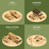 Square Military Vehicles Isometric Icon Set. Four square military vehicles isometric icon set with tanks transport missile systems and artillery headlines vector Royalty Free Stock Photo