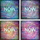 4 square mindfulness NOW word cloud coasters royalty free illustration