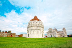 Square of Miracles and the Leaning Tower of Pisa, super wide Royalty Free Stock Photography
