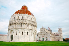 Square of Miracles and the Leaning Tower of Pisa, wide angle Stock Photos