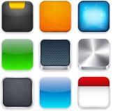 Square moderna app-mallsymboler. Arkivbild