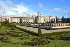 Square and Monastery in Lisbon, Portugal Royalty Free Stock Photos