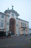 Square of Moncalvo, a small town near Asti, Piedmont Stock Photo