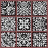 Square Monochrome Decorative Tiles Set Royalty Free Stock Photography