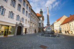 Square with monument in Ljubljana Royalty Free Stock Photos