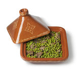 Square Moroccan tajine with meat and green peas Stock Images