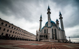 Square with mosque in gloomy day royalty free stock images