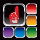 Square multicolored web icons with a foam fan hand Stock Photo