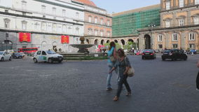 Square in Naples Italy stock video footage