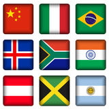 Square national flag buttons 2. Square national flags set on a white background. Vector illustration Royalty Free Stock Images