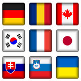 Square national flag buttons 3 Stock Photos