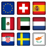 Square national flag buttons 5 Stock Photos