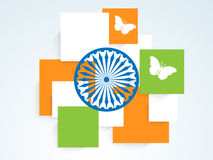 Square in national flag color with Ashoka Wheel and butterflies. Stock Photography